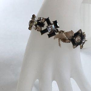 J Crew rhinestone and ribbon bracelet